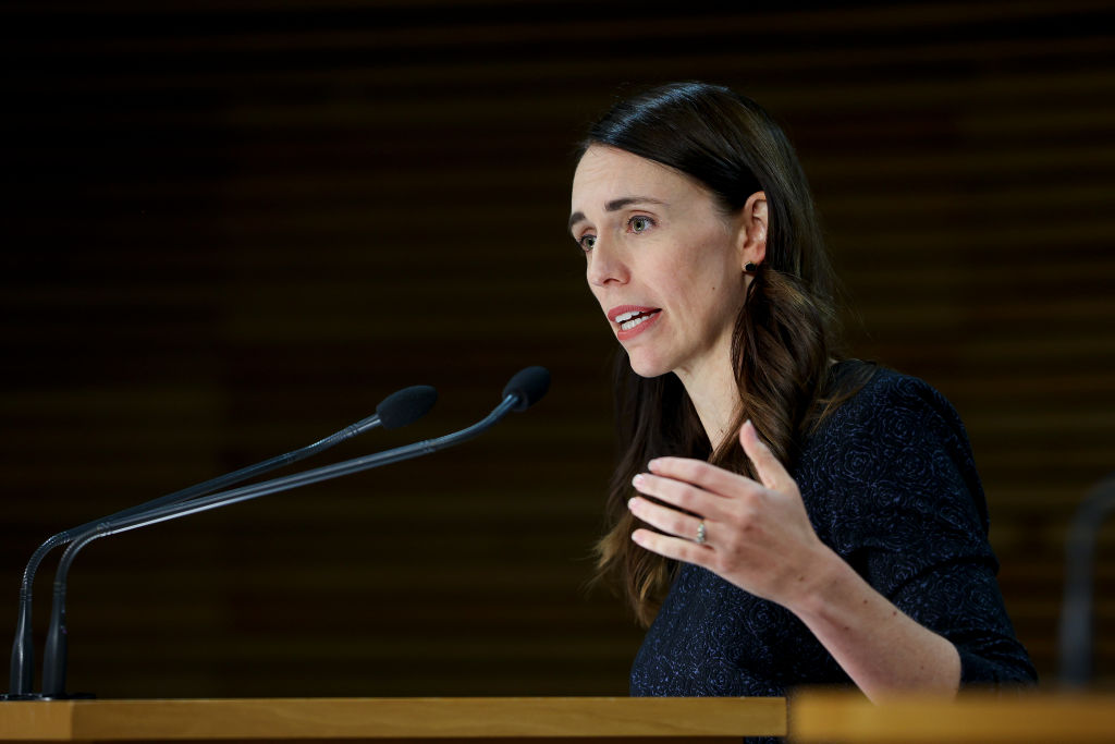 Prime Minister Jacinda Ardern speaks to media during a press conference at Parliament on February 15, 2021 in Wellington, New Zealand