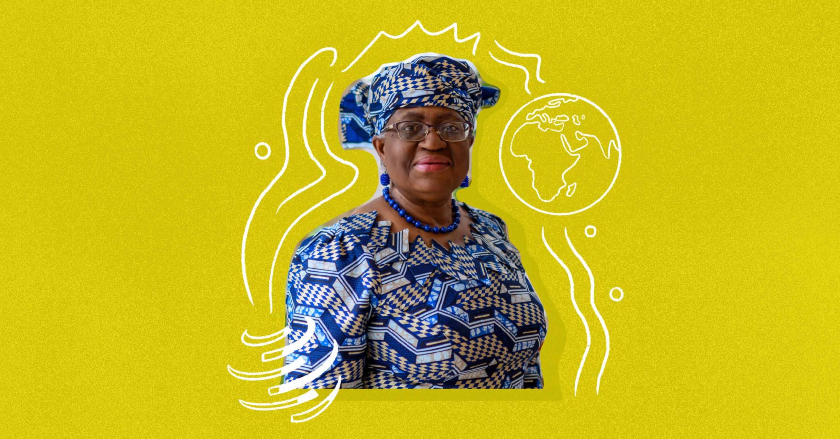 Photo illustration of Dr. Ngozi Okonjo-Iweala on a yellow background