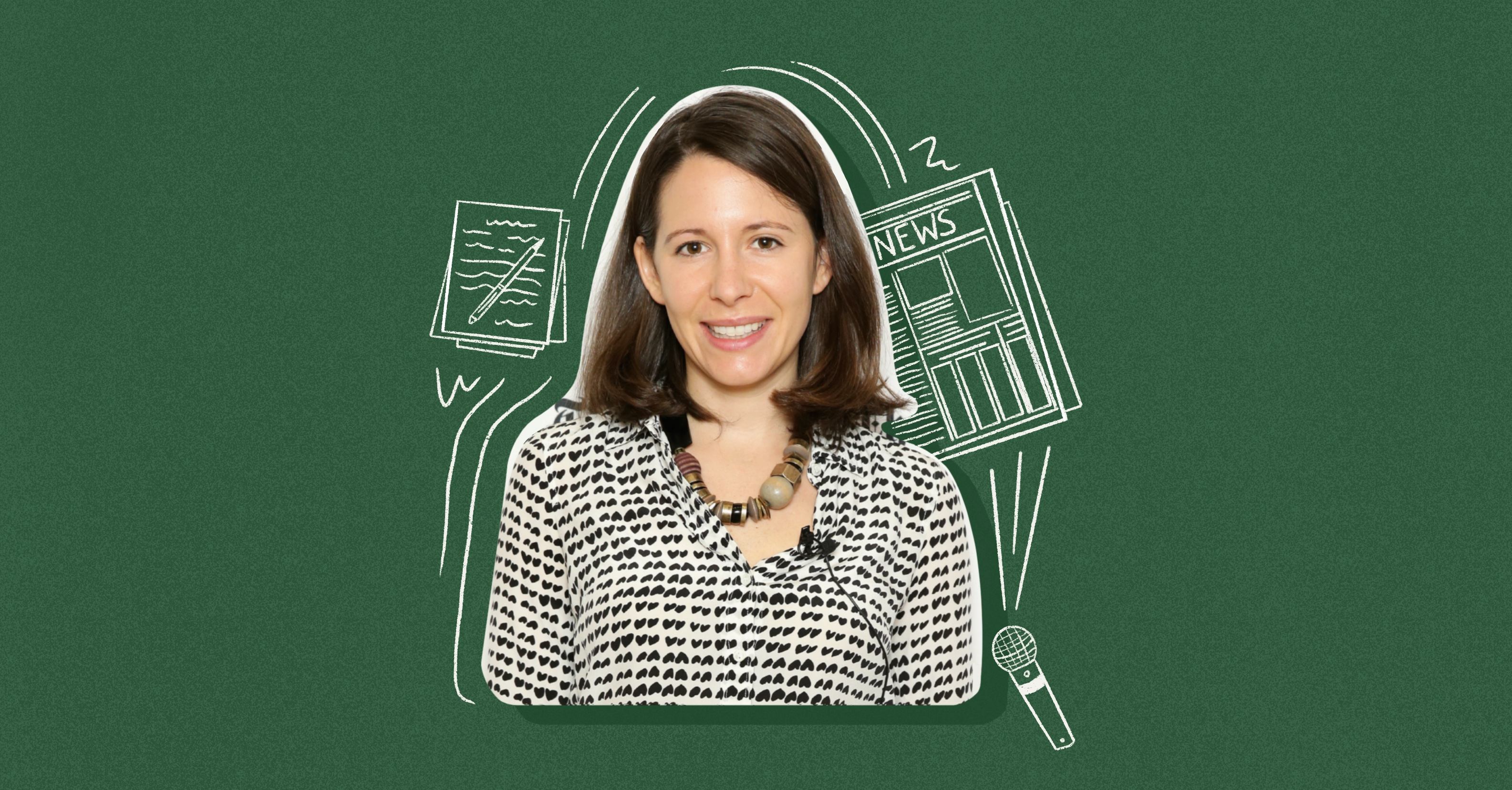 Photo illustration of Claire Cain Miller on a green background