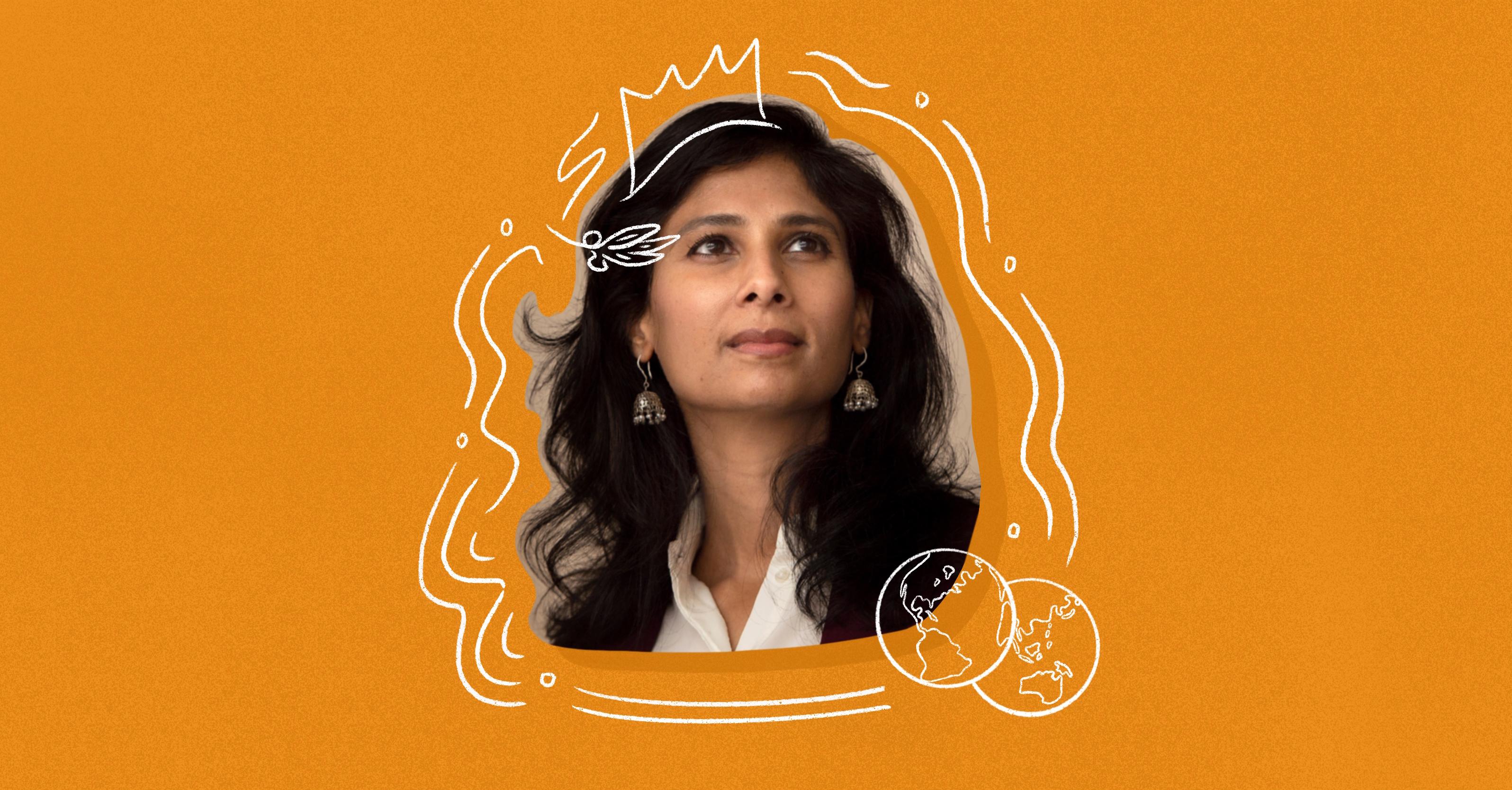 Photo illustration of Gita Gopinath on an orange background