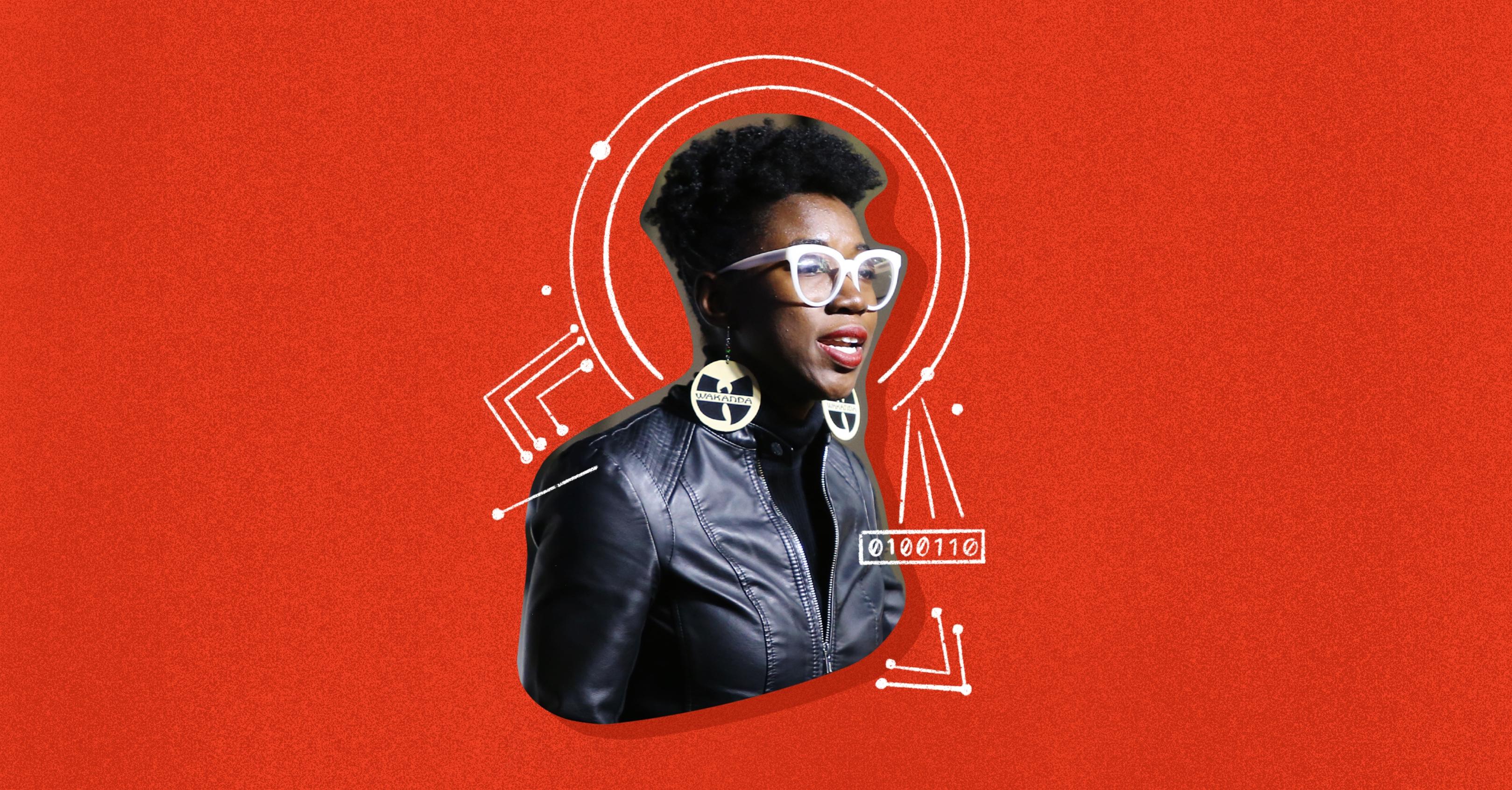 Photo illustration of Joy Buolamwini on a red background