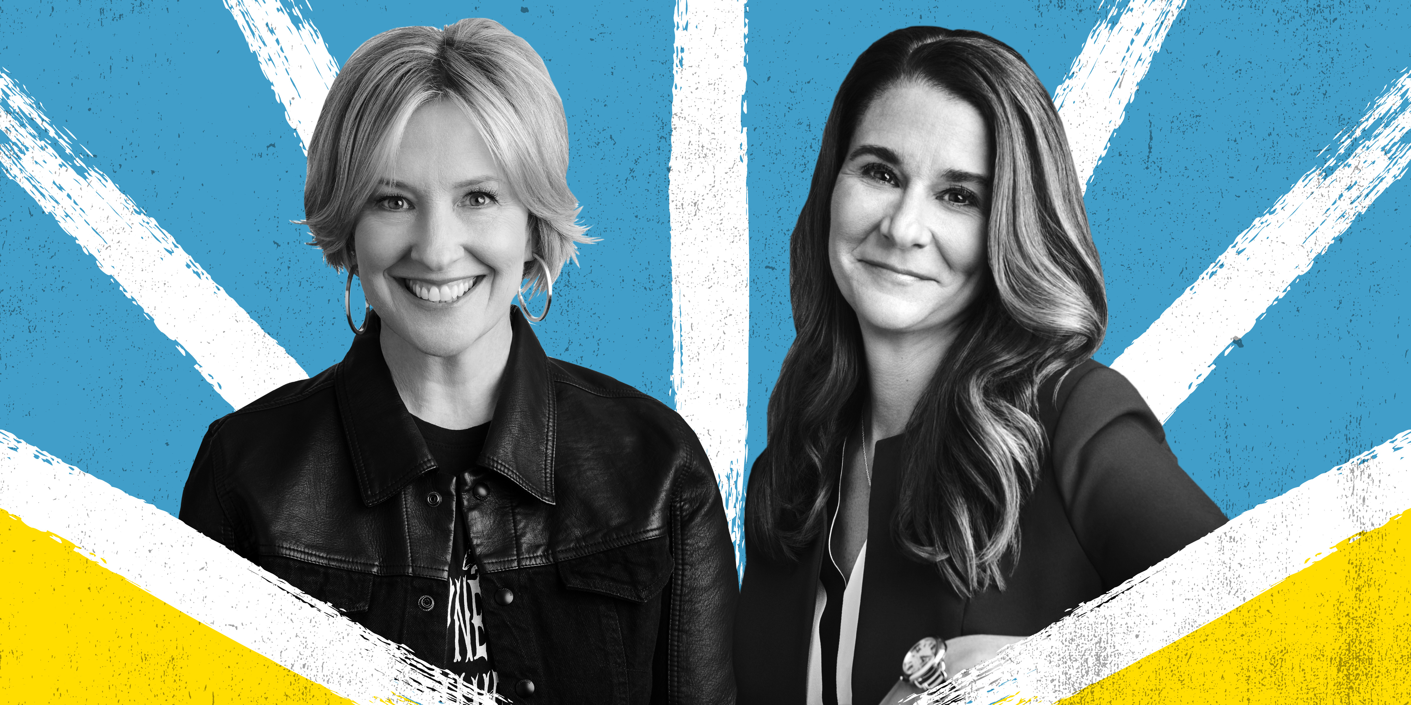 Headshot photos of Melinda Gates and Brene Brown in black and white on an illustrated background