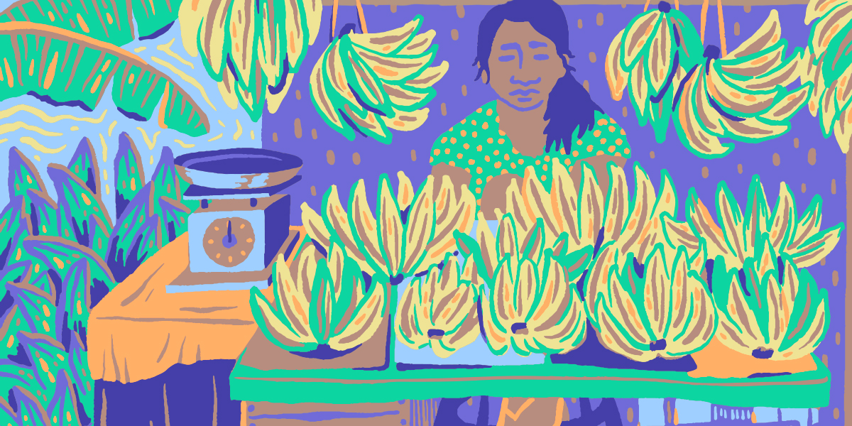 Illustration of a woman standing behind her market table with many bushels of bananas for sale on top.