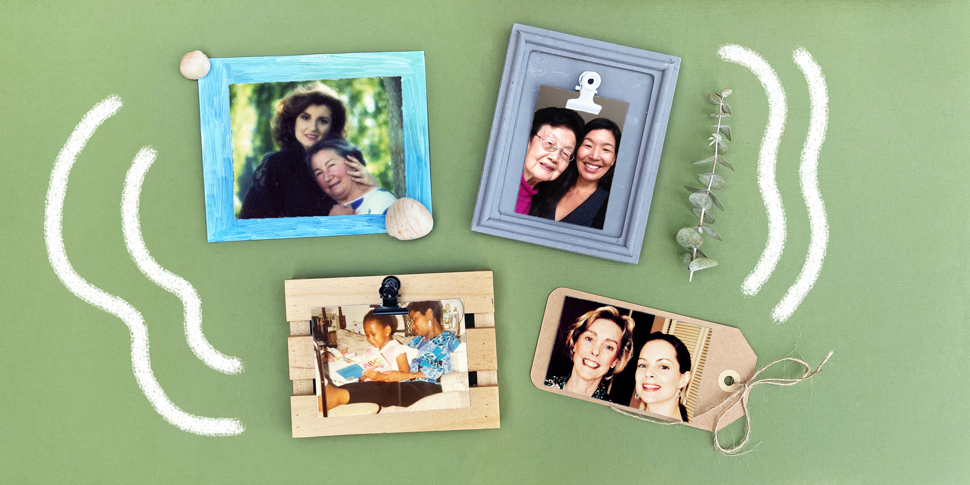 Four photos of women with their mothers sit on different colored pieces of paper on a green background.