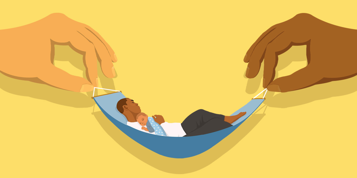 An illustration of two large hands holding up a hammock, which holds a father who sleeps with his child resting on his chest.