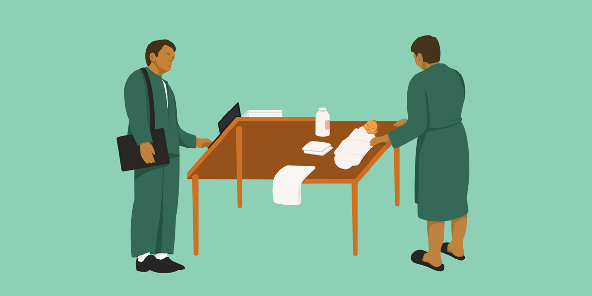 An illustration of a person dressed in business attire, appearing in two different situations at the same table. In one situation, they are working, and in the other they attend to their baby who lies on the table.