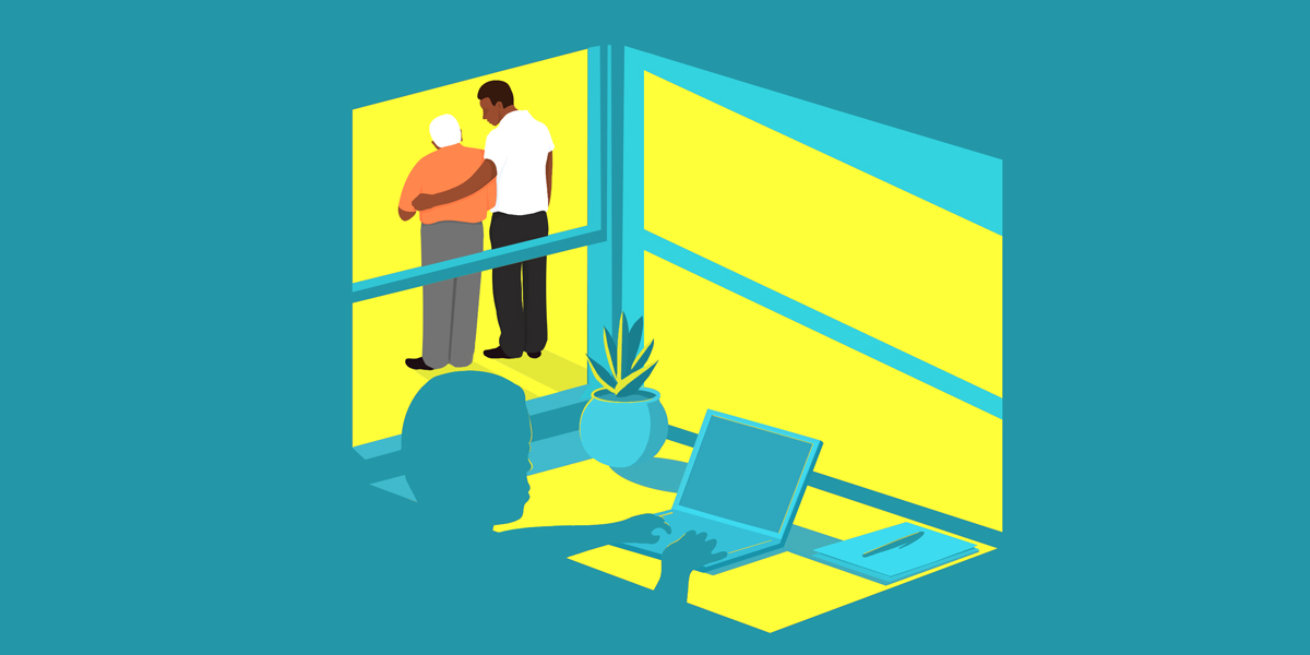 An illustration of the view out of a window where a man has his arm around his elderly father, while inside the window, the same man appears hard at work on a computer in the shadow.