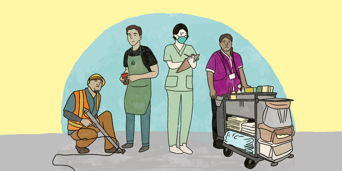An illustration of four different people standing beside each other dressed for their different jobs, including a construction worker, a barista, a nurse, and a janitor.