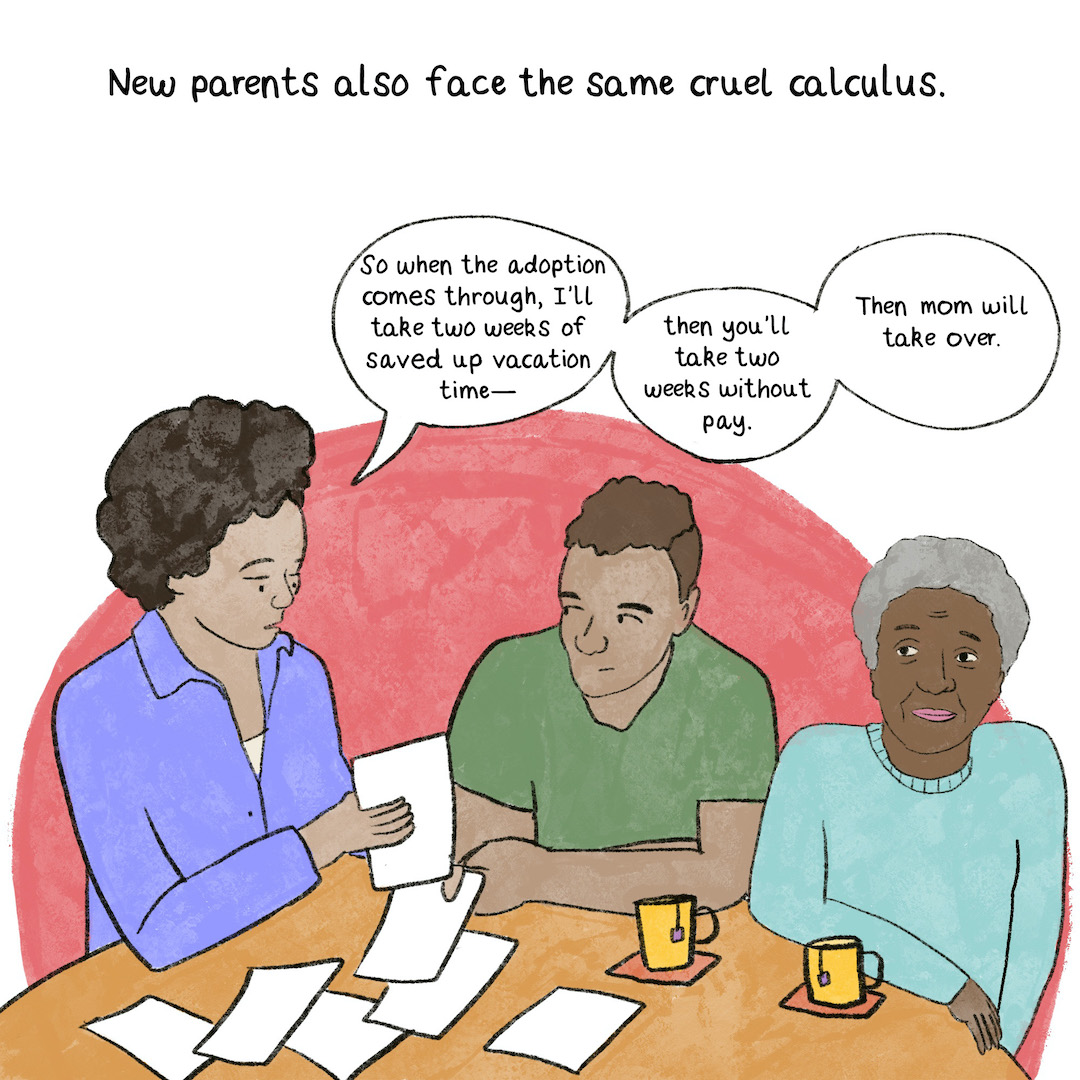New parents also face the same cruel calculus. A Black couple and an elderly grandma sit at their kitchen table, looking over paperwork.