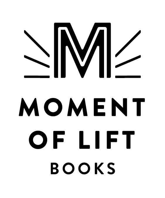 """An M with rays coming off the side hovers above the words """"Moment of Lift Books"""""""